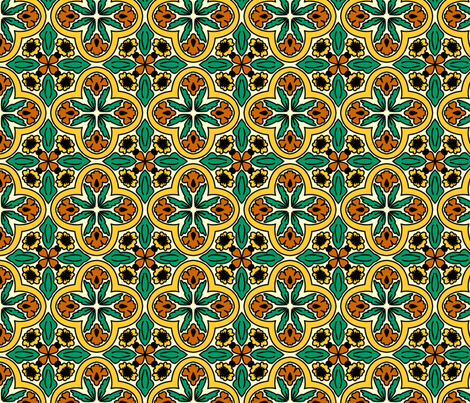 spanish tiles orange and yellow flowers fabric by spacefem on Spoonflower - custom fabric