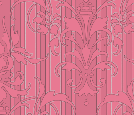 Pink Dawn ~ Pink Damask Stripe II fabric by peacoquettedesigns on Spoonflower - custom fabric