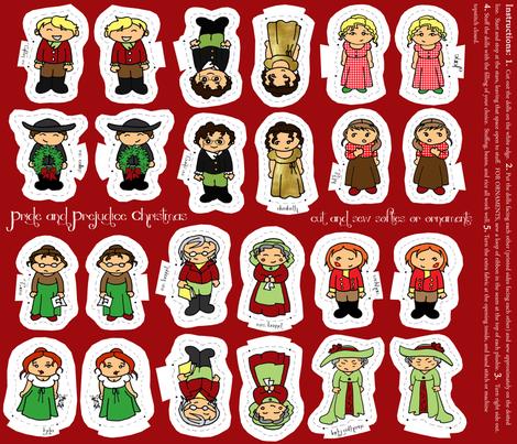 Pride and Prejudice Christmas Softies fabric by magneticcatholic on Spoonflower - custom fabric
