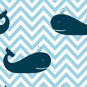 Whales on Chevron Waves