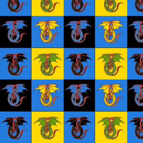 dragon w 4 patch Blue and Black