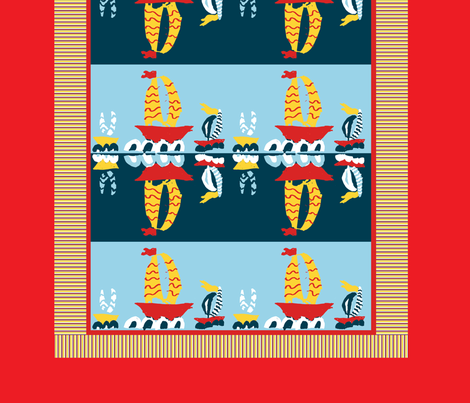 Three Boats, Three Yards, Two Cheaters fabric by saartje on Spoonflower - custom fabric