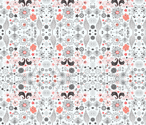 floral pattern with elephants fabric by tanor on Spoonflower - custom fabric