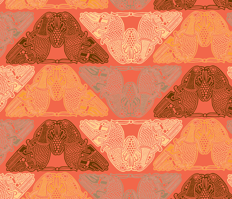 Celtic Birds warm colours fabric by susiprint on Spoonflower - custom fabric