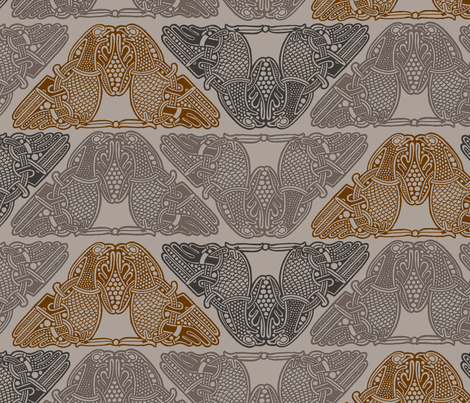Celtic Birds Grey,Black,Brown, fabric by susiprint on Spoonflower - custom fabric
