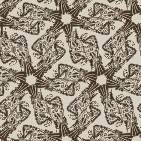 Nordic Bird Brown fabric by susiprint on Spoonflower - custom fabric