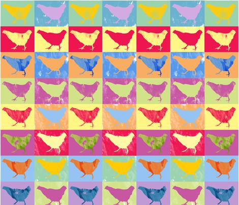 chicken_pop_art_fabric fabric by kmv_designs on Spoonflower - custom fabric