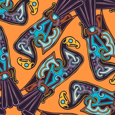 Nordic Bird Orange fabric by susiprint on Spoonflower - custom fabric