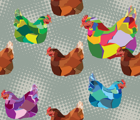 pop_art_chickens_dowell fabric by kathryndowell on Spoonflower - custom fabric