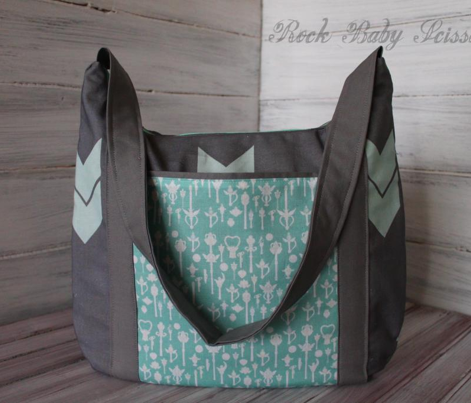 mint and grey chevron