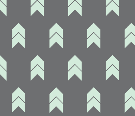 mint and grey chevron fabric by mintpeony on Spoonflower - custom fabric