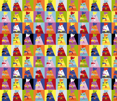 Pop_art_chickens fabric by zapi on Spoonflower - custom fabric