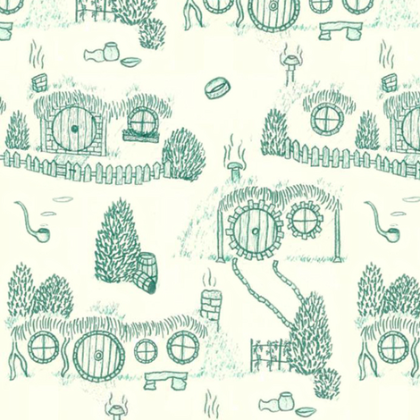 Large Green Shire Toile fabric by spikymammal on Spoonflower - custom fabric