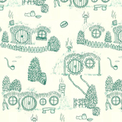 Large Green Shire Toile