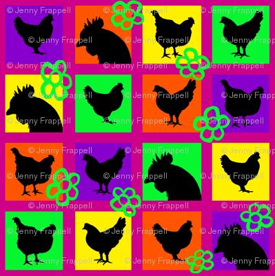 Pop Art Chickens for Lisa © Indigodaze2013