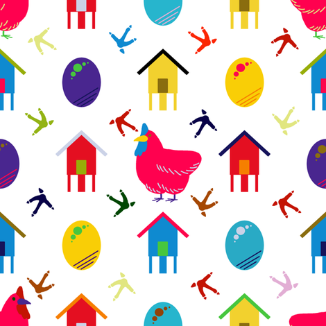 Chickens after Murakami fabric by mongiesama on Spoonflower - custom fabric