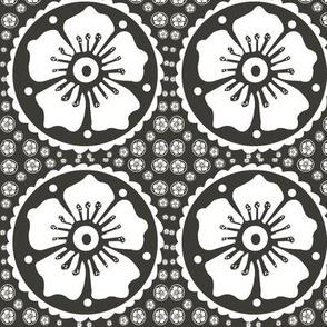 Henna Flower WB  Black and White