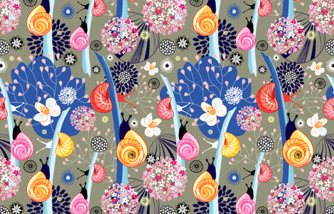 graphic plants and snails fabric by tanor on Spoonflower - custom fabric