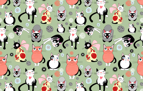 funny cats fabric by tanor on Spoonflower - custom fabric