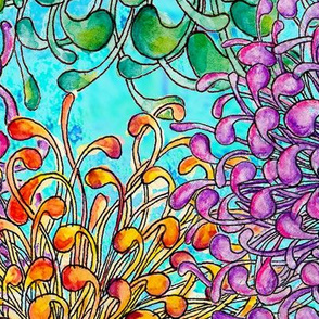 Doodle flowers large scale