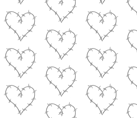 Barbed_Heart B&W fabric by weebeastiecreations on Spoonflower - custom fabric