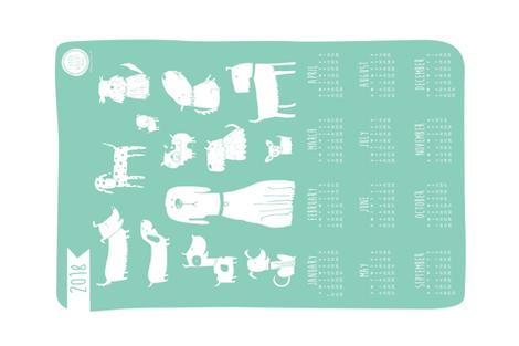 2018 tea towel calendar - dogs teal fabric by laurawrightstudio on Spoonflower - custom fabric
