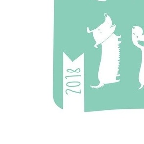 2018 tea towel calendar - dogs teal
