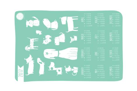 2017 Tea towel calendar - dogs teal fabric by laurawrightstudio on Spoonflower - custom fabric