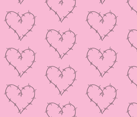Barbed_Heart Pink fabric by weebeastiecreations on Spoonflower - custom fabric