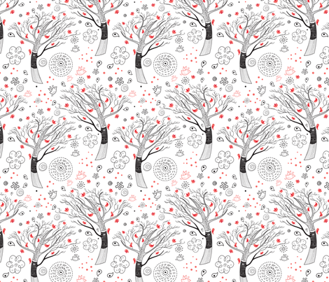 beautiful trees fabric by tanor on Spoonflower - custom fabric