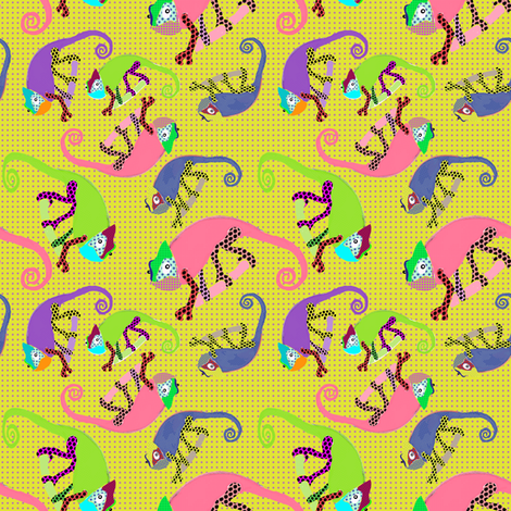 Karma Chameleon yellow fabric by susiprint on Spoonflower - custom fabric