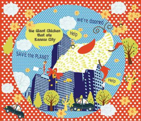 The Giant Chicken that ate Kansas City! fabric by deeniespoonflower on Spoonflower - custom fabric