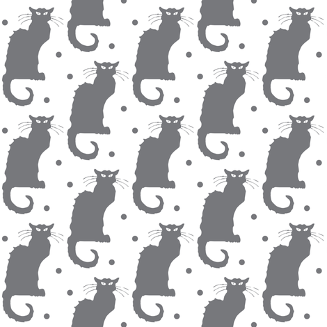 Le Chat Noir Grey Cat on Dotted White fabric by bohobear on Spoonflower - custom fabric