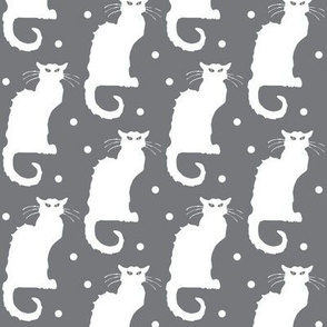 Le Chat Noir White Cat on Dotted Grey
