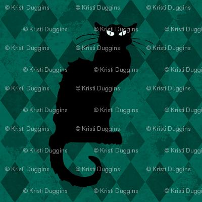 Le Chat Noir Black Cat Green Harlequin Diamond