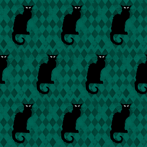 Le Chat Noir Black Cat Green Harlequin Diamond fabric by bohobear on Spoonflower - custom fabric