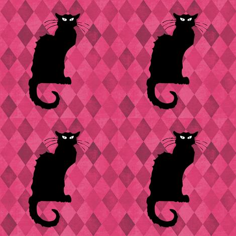 Le Chat Noir on Pink Black Cat Harlequin Diamonds fabric by bohobear on Spoonflower - custom fabric