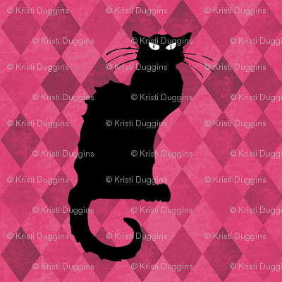 Le Chat Noir on Pink Black Cat Harlequin Diamonds