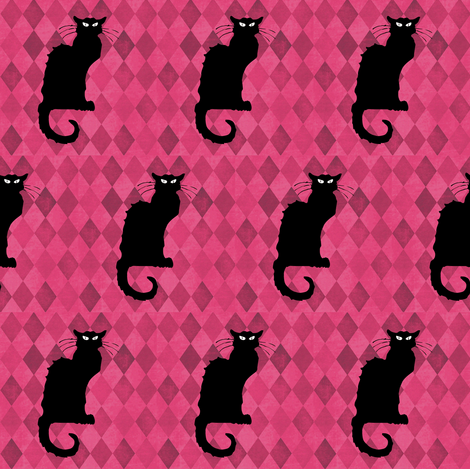 Le Chat Noir on Pink Black Cat Harlequin Diamonds fabric by bohobear on Spoonflower - custom fabric