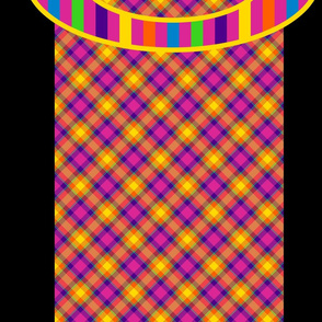 Rainbow Stripes on Plaid and Black