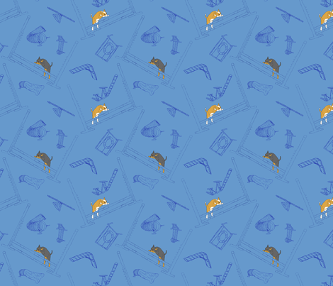 Agility Chihuahuas - blue fabric by rusticcorgi on Spoonflower - custom fabric