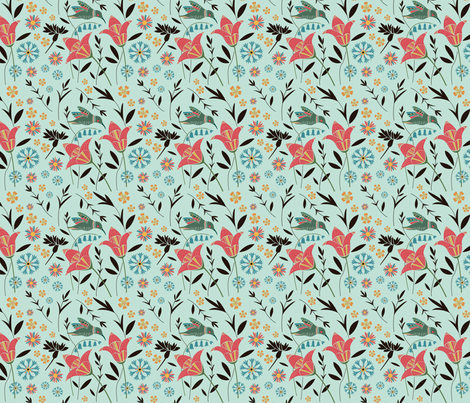 Hummingbird Floral Mint fabric by anna_ducos on Spoonflower - custom fabric