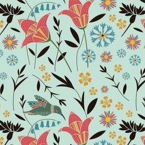 Hummingbird Floral Mint