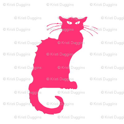 Le Chat Noir | Hot Pink Cats on White