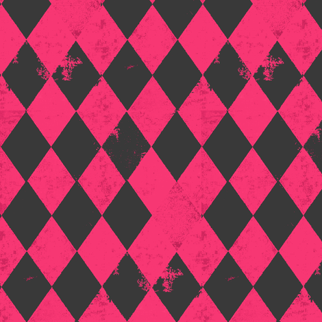 Hot Pink & Dark Grey Harlequin Diamond fabric by bohobear on Spoonflower - custom fabric