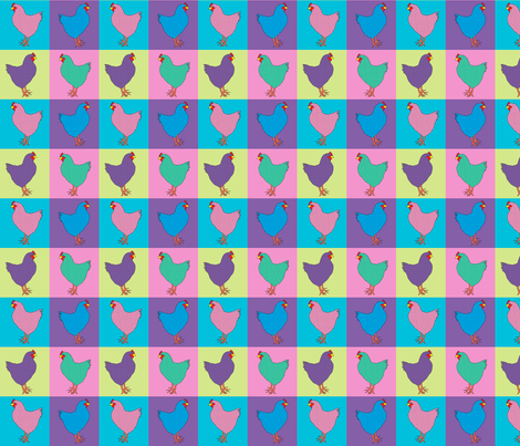Pop Art Chickens fabric by linsart on Spoonflower - custom fabric