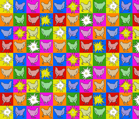 Chickens POP!  fabric by sufficiency on Spoonflower - custom fabric