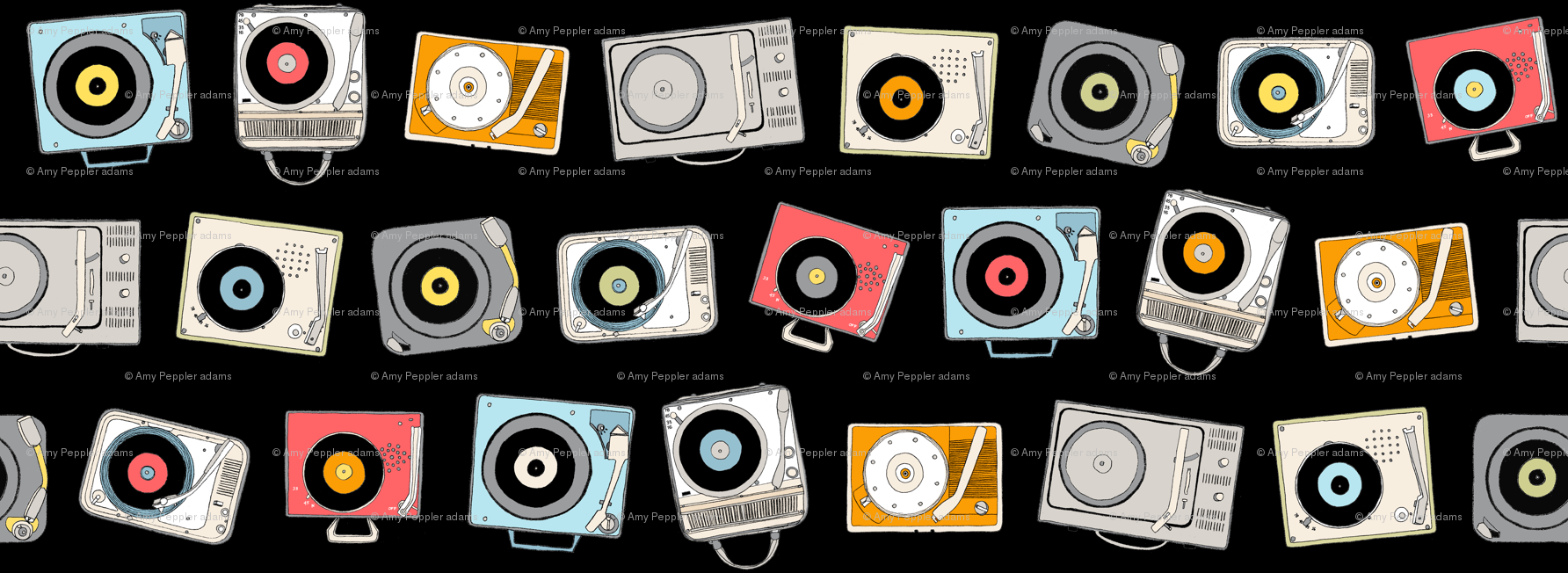 Hi-Fi (Black)    vintage retro stereo record player records