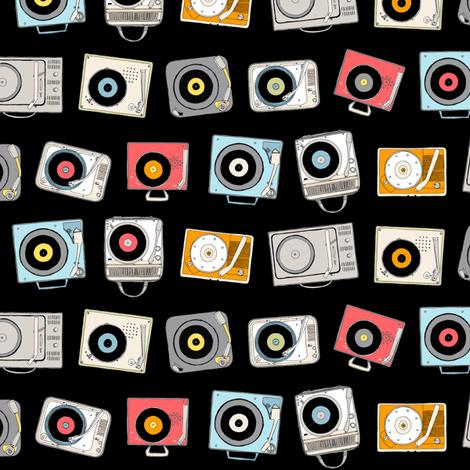 Hi-Fi (Black) || vintage retro stereo record player records dj vinyl analog music 60s 70s 80s fabric by pennycandy on Spoonflower - custom fabric