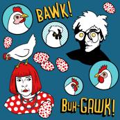 Warhol and Kusama with chickens